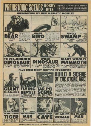 Aurora prehistoric scenes comic ad.