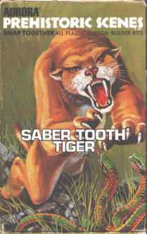 Aurora 1971 sabertooth tiger model box