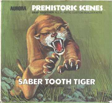 Aurora 1972 sabertooth tiger model box