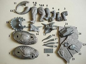 three horned dinosaur parts