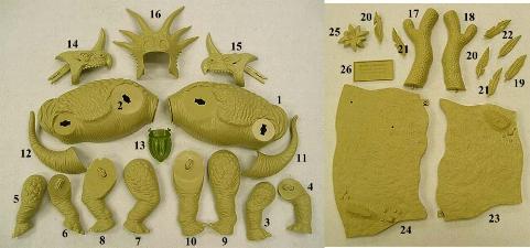 hree horned dinosaur model parts