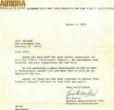 Aurora model company letter